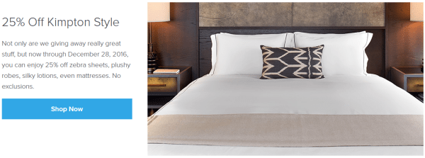 best hotel beds 25 percent off Kimpton Style