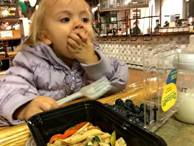 Milwaukee Public Market Scarlett eating
