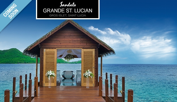 Sandals overwater bungalow Sandals Grande St Lucian overwater wedding chapel