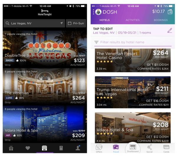 best app for last minute hotels - Dosh vs HotelTonight app