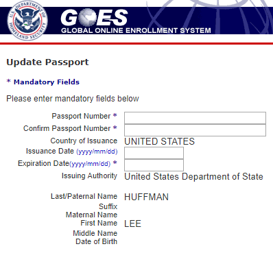 How to update Global Entry update passport