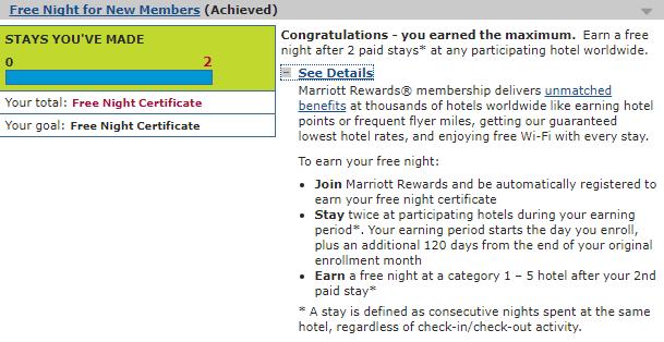 Marriott New Account Bonus promotion Fall 2017 achieved