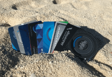 Credit cards in the sand Bahamas