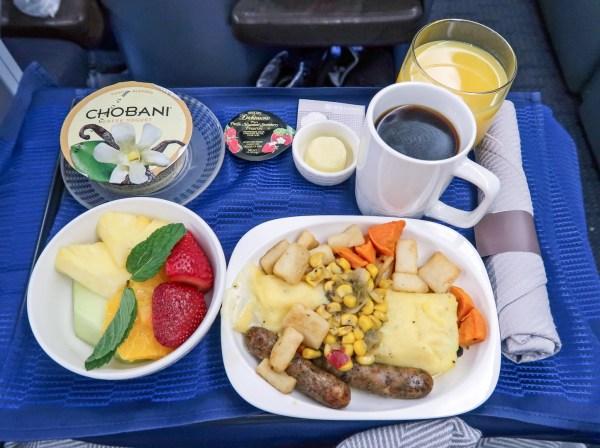 United Airlines Polaris 777-200 Breakfast