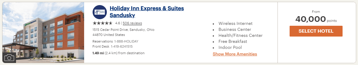 Holiday Inn Express & Suites Sandusky 4th of July points