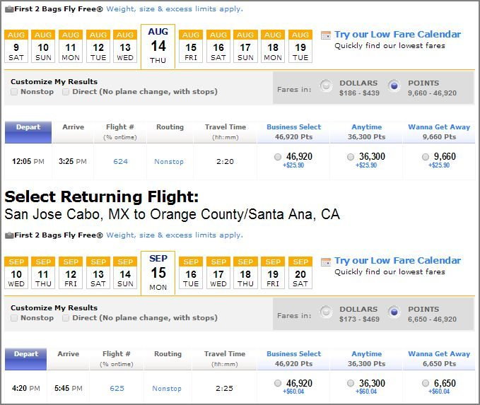 Southwest SNA to SJD August 2014 using points