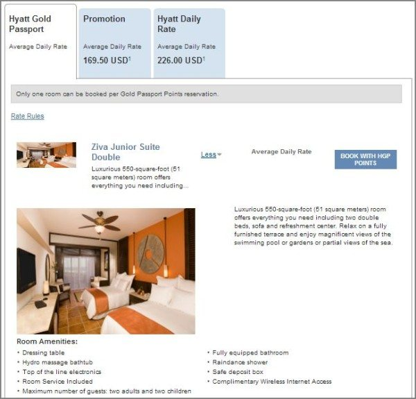 Hyatt Ziva Los Cabos Junior Suite room description