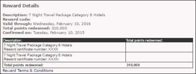 Marriott Hotel and Air Package points redemption