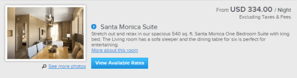 Kimpton Hotel Wilshire Santa Monica suite prices