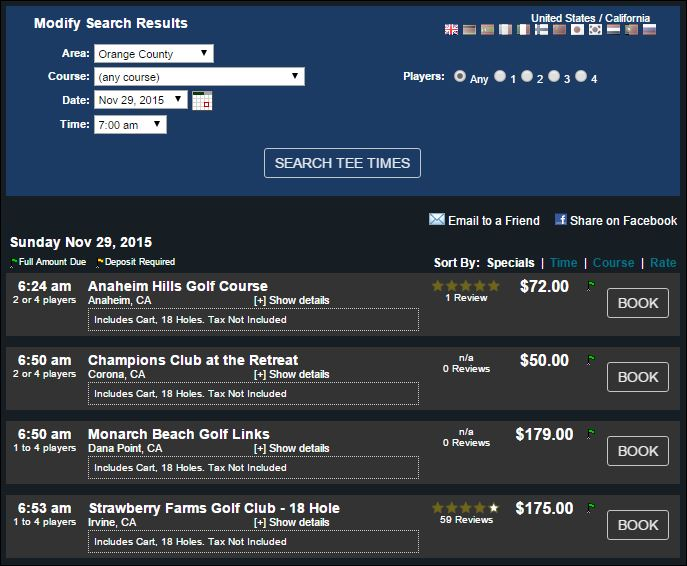 Citibank Prestige golf options in Orange County
