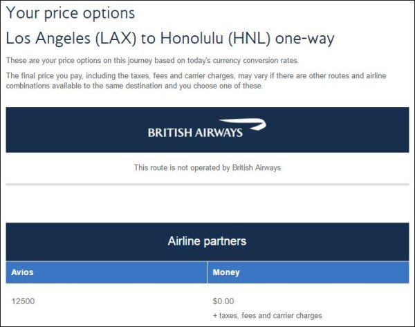 British Airways LAX to HNL points calculator