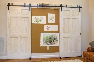 Barn Doors with Bulletin Board