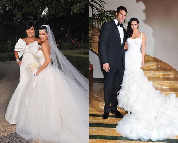 Kim Kardashian e dois dos vestidos Vera Wang que usou no seu casamento (Foto: Reprodução/Instagram)