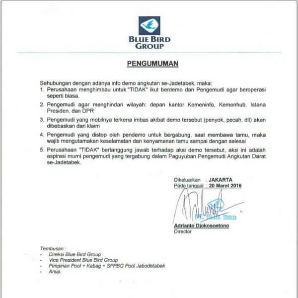 Surat edaran manajemen Blue Bird tentang demo