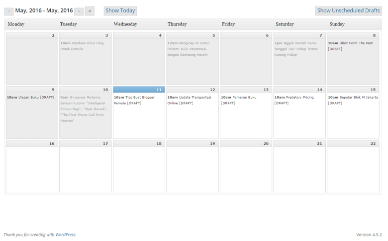 Contoh tampilan plugin wordpress editorial calendar Balepoint