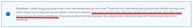 Beaya Anak Bayar di Hotel Traveloka