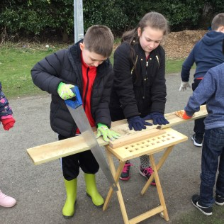 Building birdboxes for the community garden