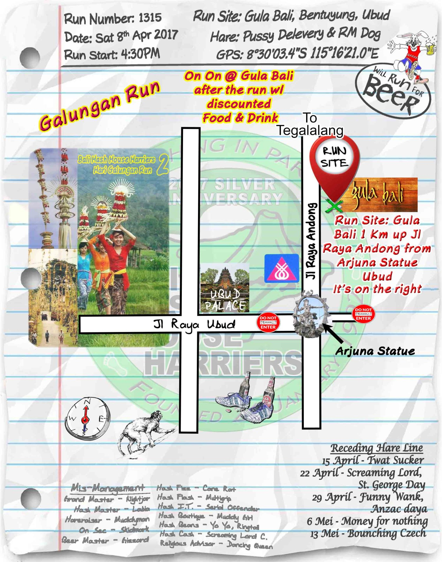 BHHH2 Next Run Map Sat 8th Apr 2017 Gula Bali, Bentuyung, Ubud