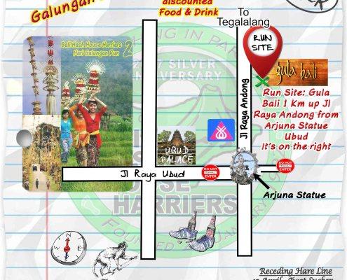 BHHH2 Next Run Map Sat 8th Apr 2017 Gula Bali, Bentuyung, Ubud