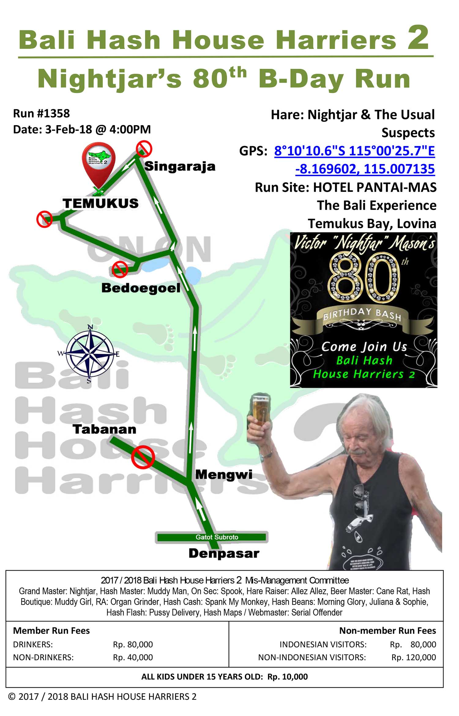 BHHH2 Next Run Map 1358 Hotel Pantai Mas, Temukus, Lovina 3-Feb-18