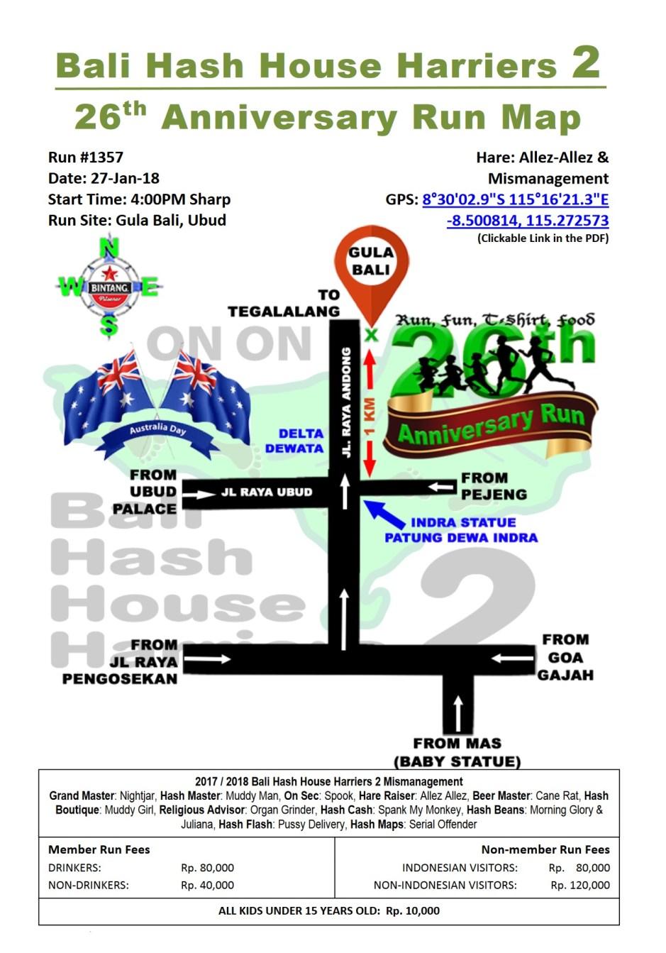 BHHH2 Run 1357 Gula Bali Ubud 27-Jan-18