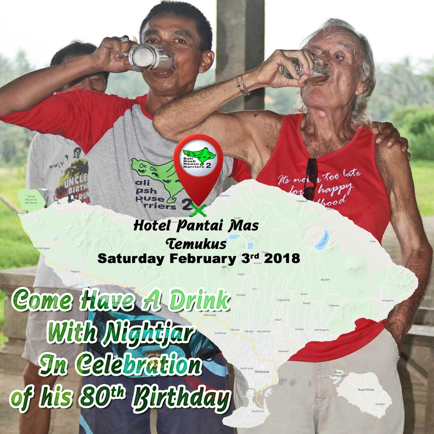 UPDATE Bali Hash House Harriers 2 Victor Nightjar Mason's  80th Birthday Run 3 Feb 2018