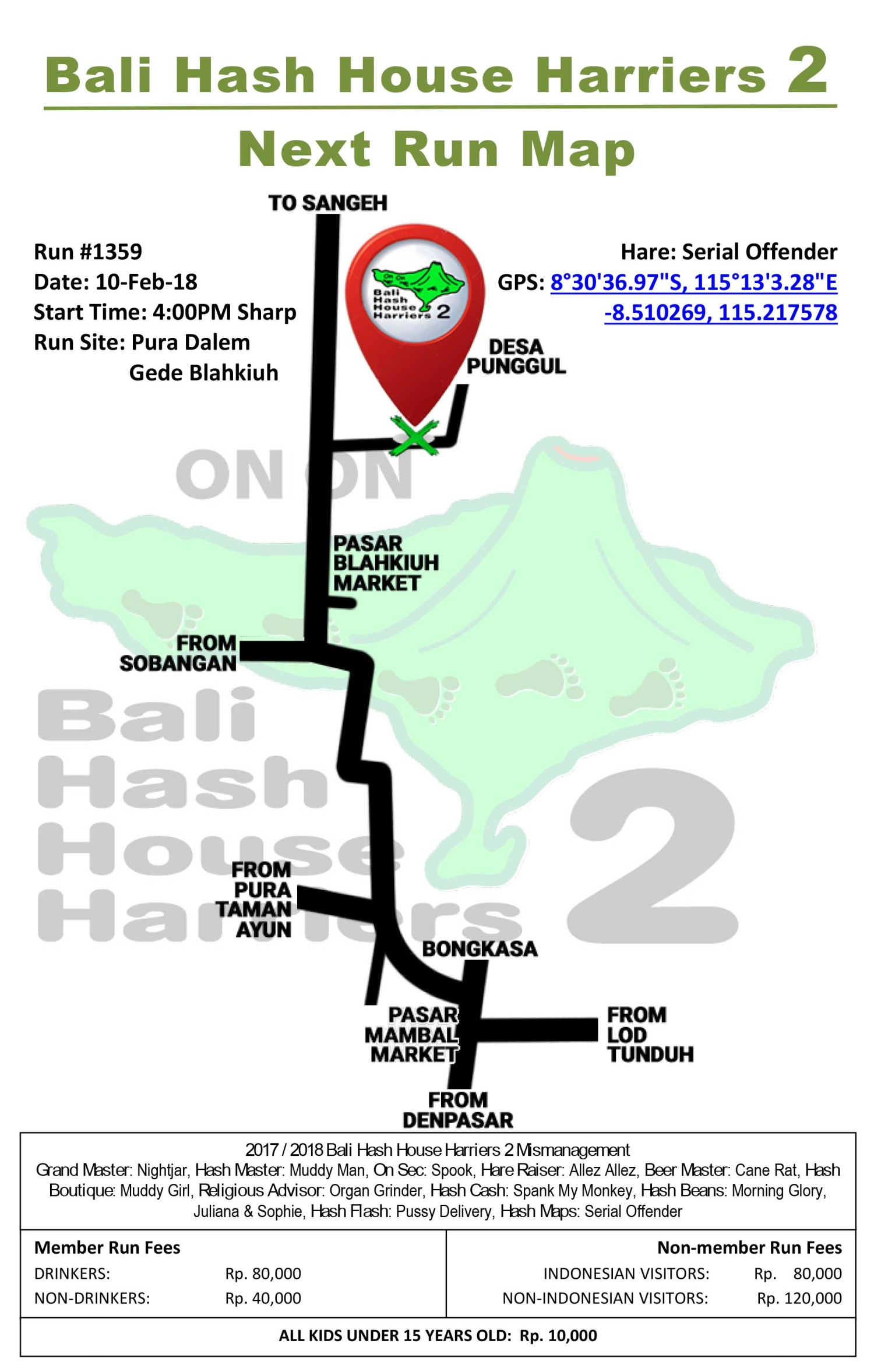 BHHH2 Next Run Map 1359 Pura Dalem Gede Blahkiuh 10-Feb-18