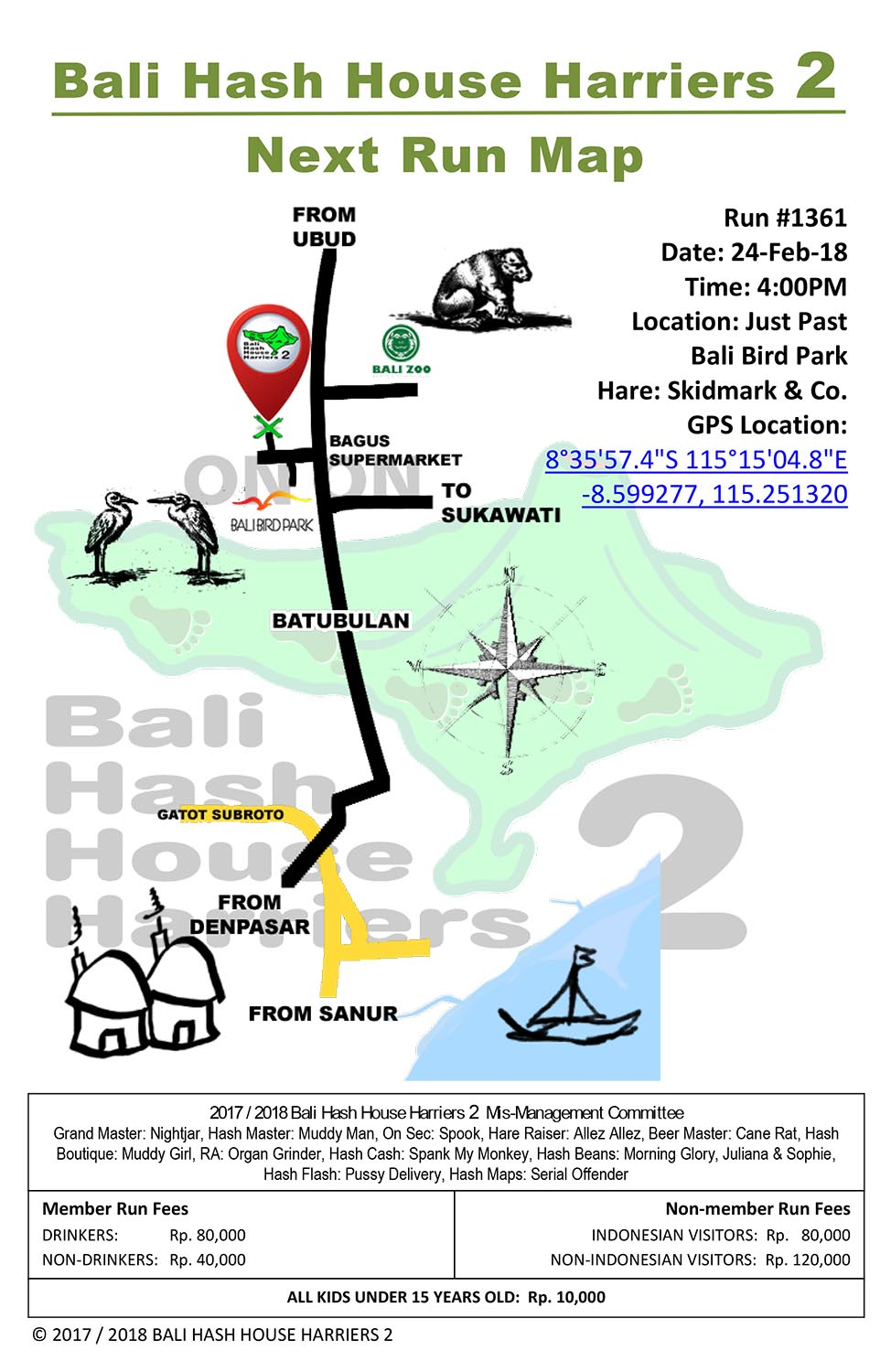 BHHH2 Next Run Map 1361 Next to Bali Bird Park 24-Feb-18