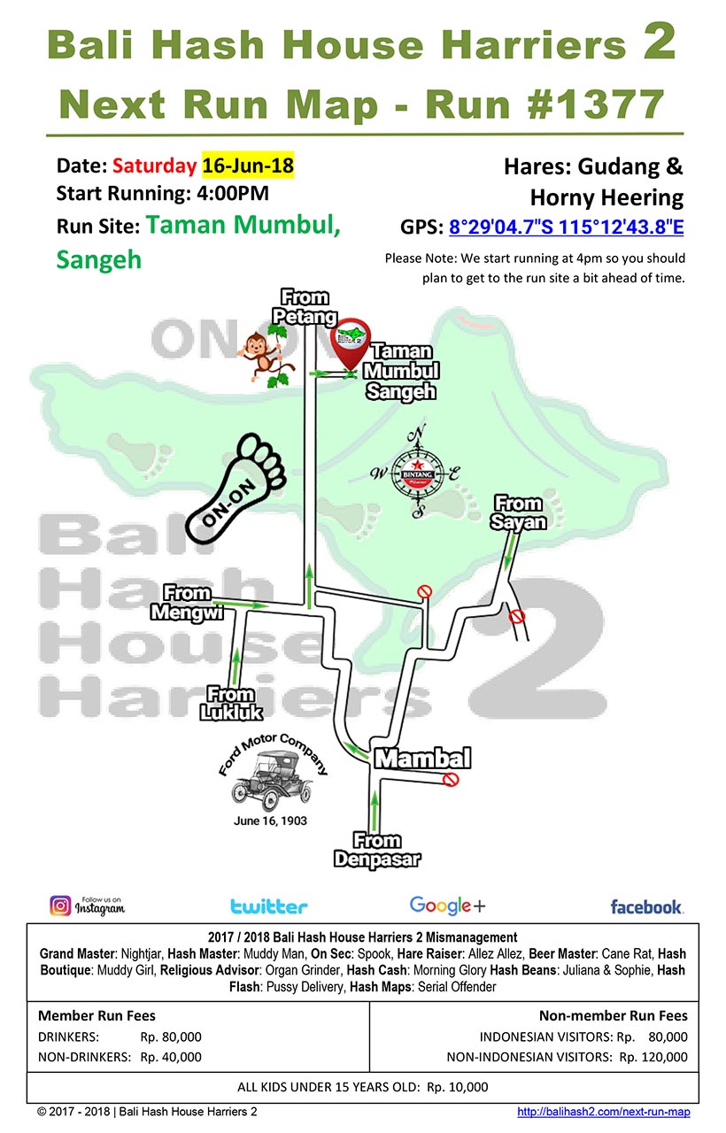 Bali Hash House Harriers 2 BHHH2 Next Run Map #1377 Taman Mumbul Sangeh