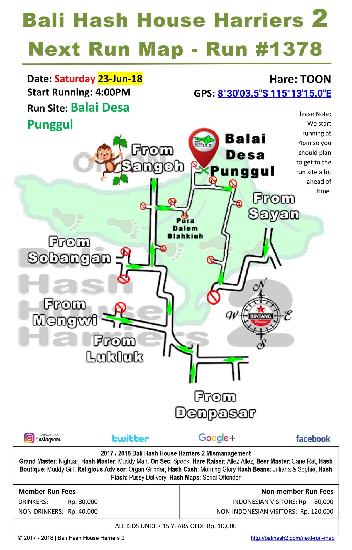 Bali Hash House Harriers 2 BHHH2 Next Run Map For The Best Hash Runs In Bali