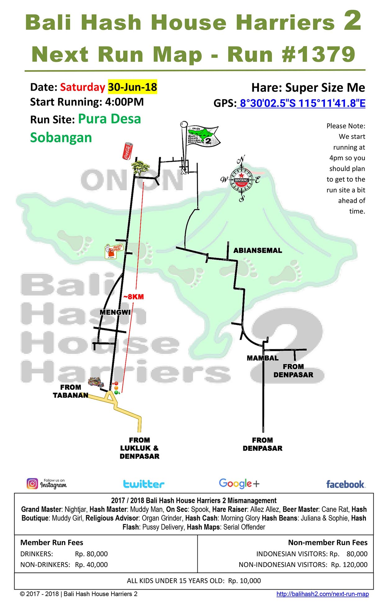 BHHH2 Next Run Map #1379 Pura Desa Sobangan 30-Jun-18