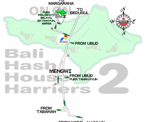 Bali Hash House Harriers 2 Run Map Run #1385 Pura Prajapati Belayu Batannyuh 11-Aug-18