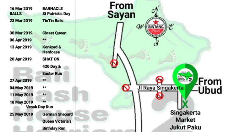 Bali Hash 2 Next Run Map #1415 Singakerta Market Jukut Paku
