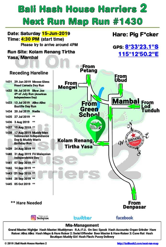 Bali Hash 2 Next Run Map #1430 Kolam Renang Tirtha Yasa Mambal