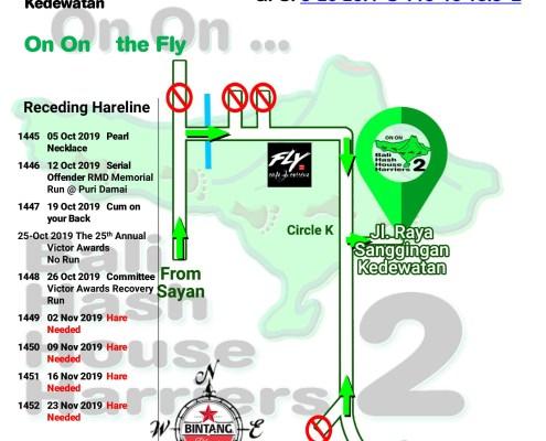 Bali Hash 2 Next Run Map #1444 Jl. Raya Sanggingan Kedewatan