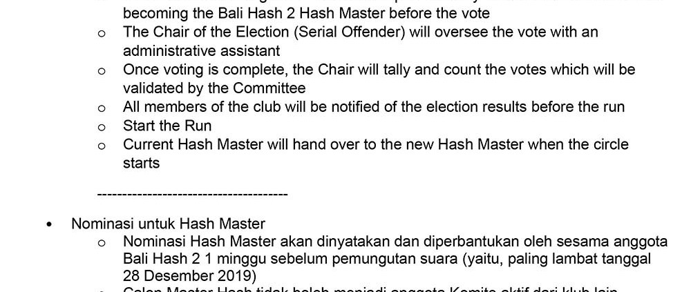 Bali Hash House Harriers 2 AGM 2020 Election Rules