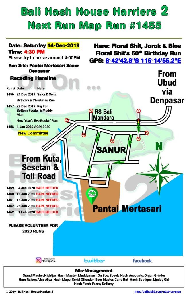 Bali Hash 2 Next Run Map #1455 Pantai Mertasari Sanur Denpasar