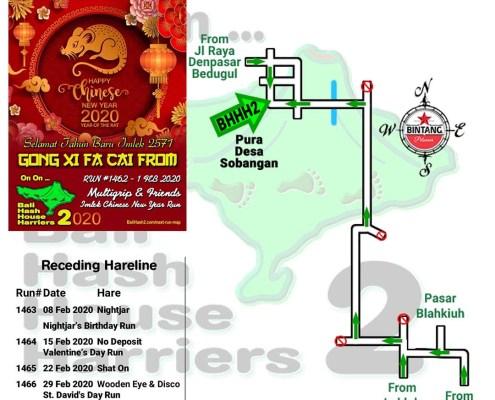 Bali Hash 2 Next Run Map #1462 Pura Desa Sobangan CNY Run
