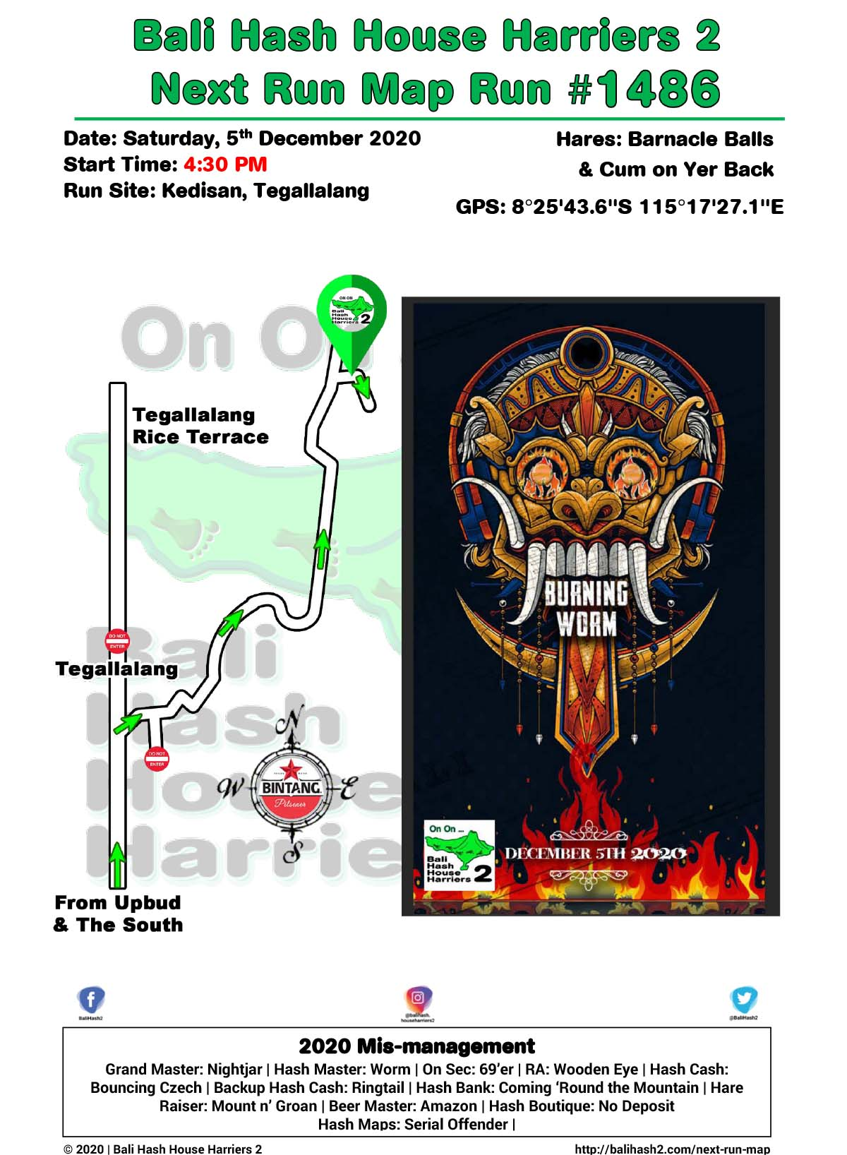 Bali Hash 2 Next Run Map #1486 Kedisan Tegallalang Burning Worm