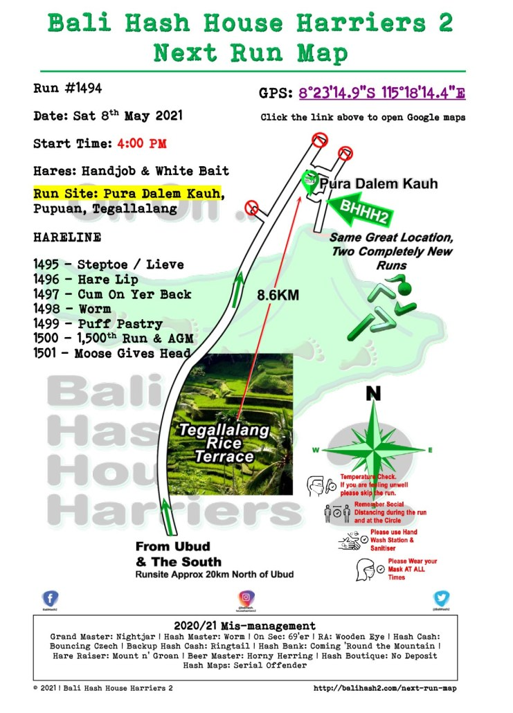 Bali Hash 2 Next Run Map #1494 Pura Dalem Kauh 8-May-21