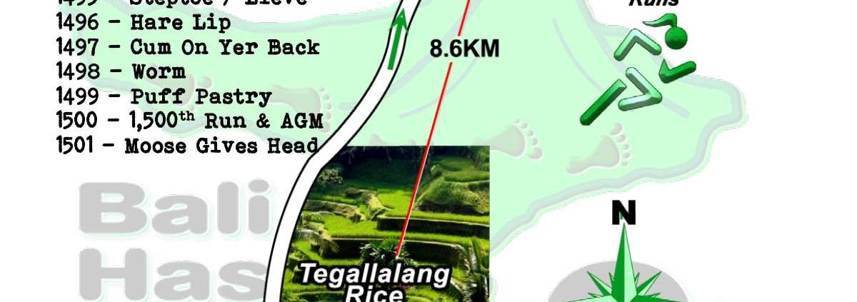 Bali Hash 2 Next Run Map #1494 Pura Dalem Kauh 8-May-21