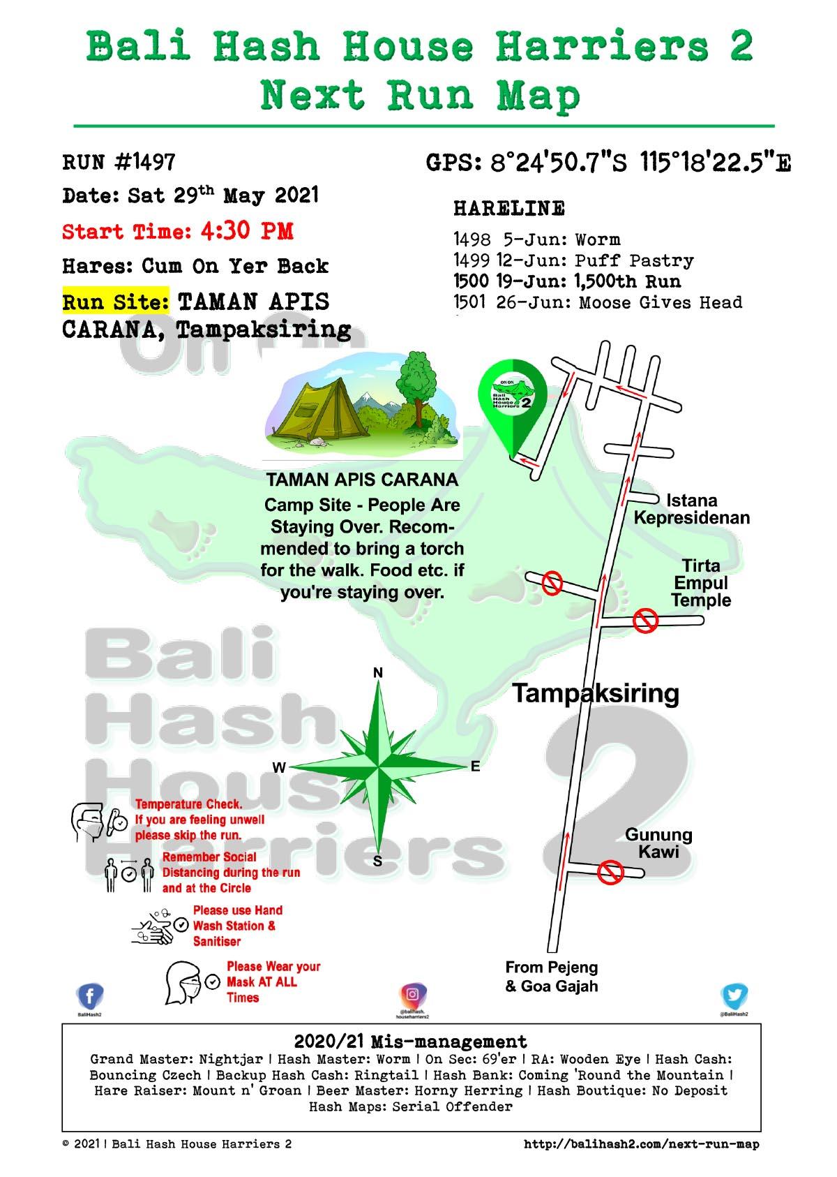 Bali Hash 2 Next Run Map #1497 TAMAN APIS CARANA Tampaksiring 29-May-21