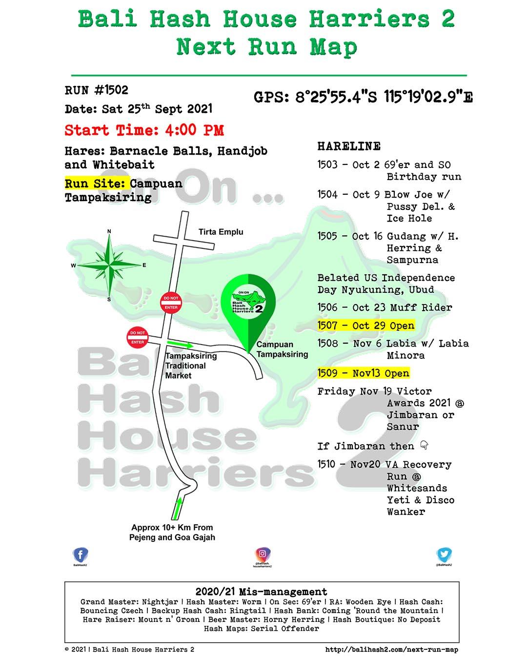 Bali Hash 2 Next Run Map #1502 Campuan Tampaksiring