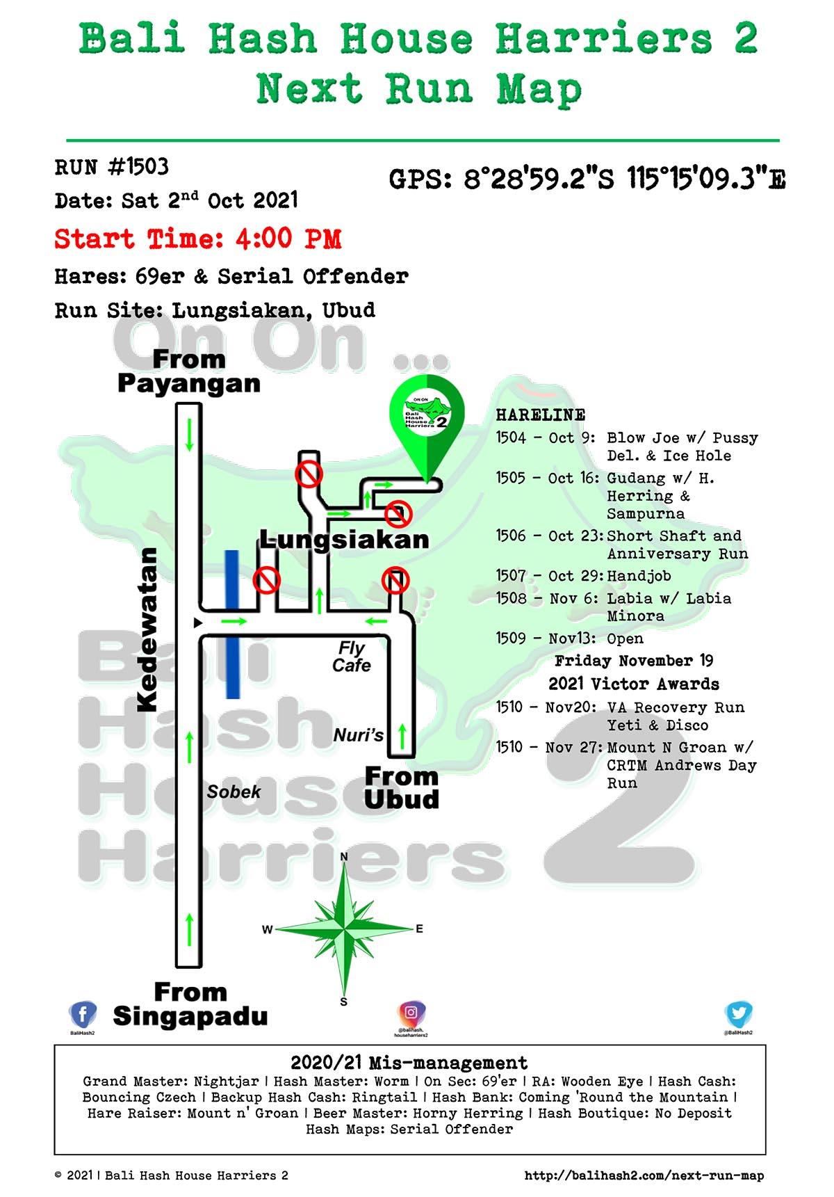 Bali Hash 2 Next Run Map #1503 Lungsiakan Ubud 2-Oct