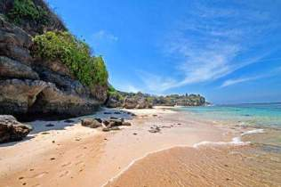 Gunung Payung Beach, white sandy beach
