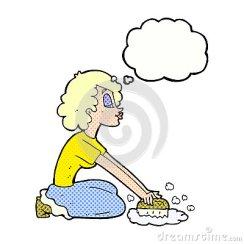 cartoon-woman-scrubbing-floor-thought-bubble-52948651
