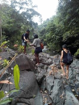 visiting sambangan waterfalls with Bali Jungle Trekking Team Guide