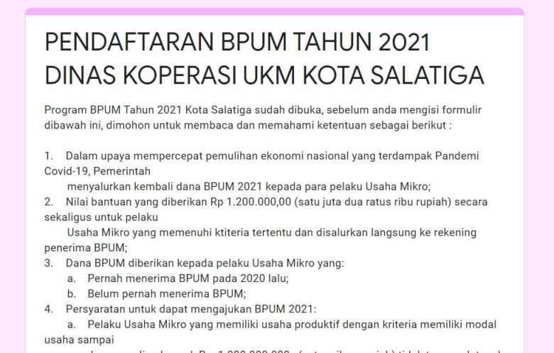 https://bit.ly/BPUMSalatiga2021 Daftar BPUM Tahap 3 Kota Salatiga 2021