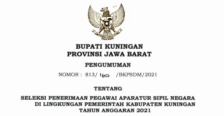 Download PDF Formasi CPNS 2021 Kab. Kuningan, PPPK Guru dan Non Guru di SSCN.BKD.GO.ID