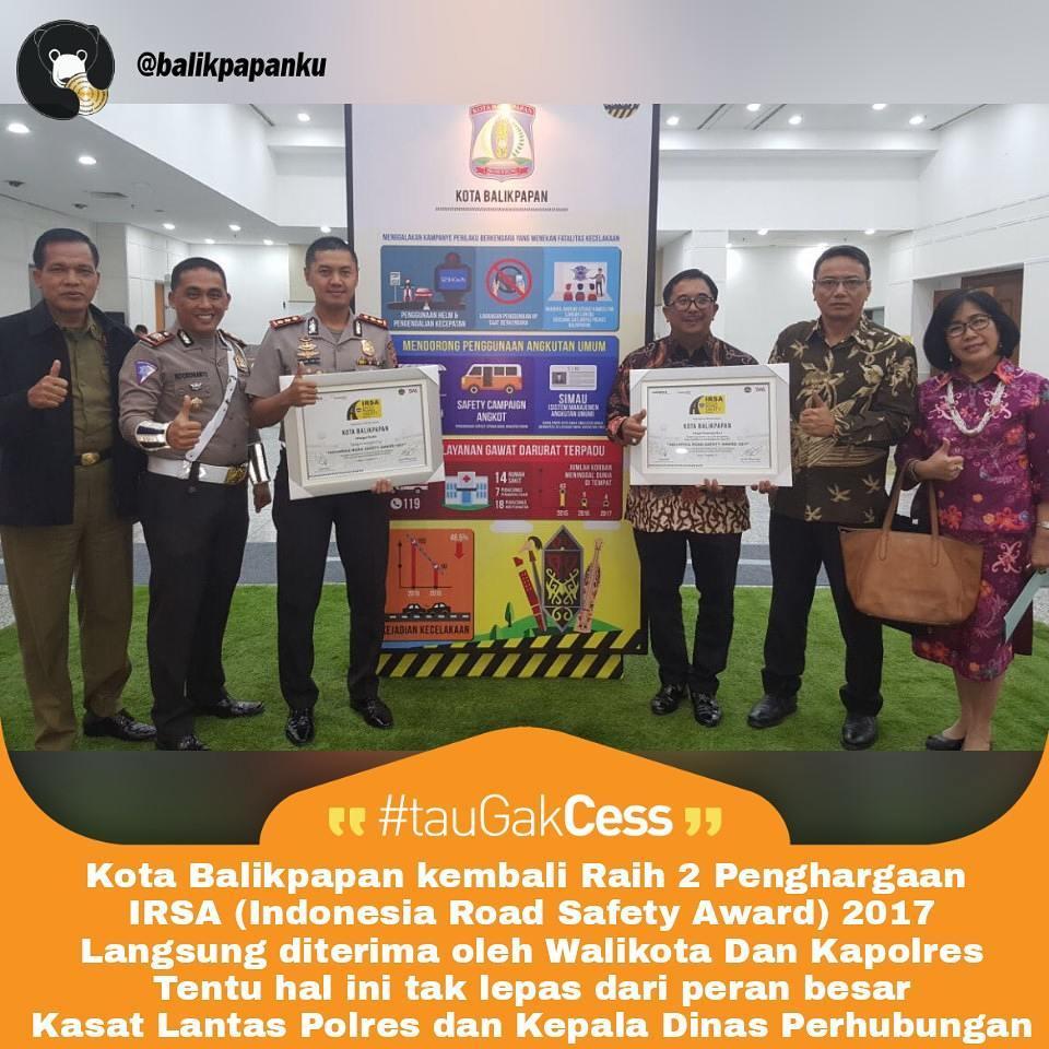 balikpapan meraih penghargaan Indonesia Road Safety Awards (IRSA) 2017